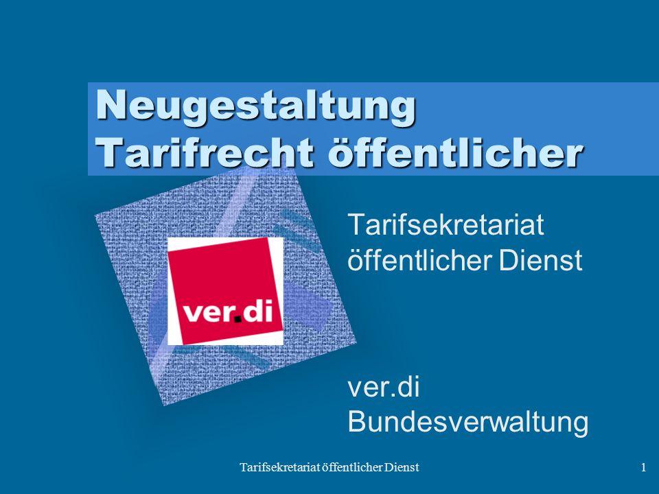 Tarifsekretariat öffentlicher Dienst1 Neugestaltung Tarifrecht öffentlicher Tarifsekretariat öffentlicher Dienst ver.di Bundesverwaltung