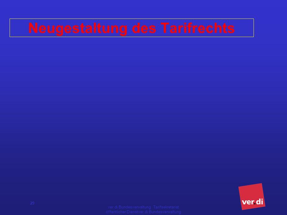 ver.di Bundesverwaltung Tarifsekretariat öffentlicher Dienstver.di Bundesverwaltung Tarifsekretariat öffentlicher Dienst 29 Neugestaltung des Tarifrechts