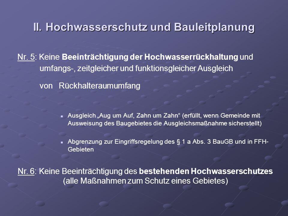 II. Hochwasserschutz und Bauleitplanung Nr. 5: Keine Beeinträchtigung der Hochwasserrückhaltung und umfangs-, zeitgleicher und funktionsgleicher Ausgl