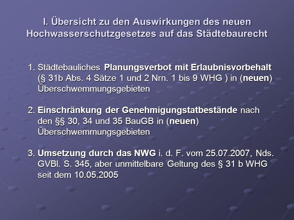 I. Übersicht zu den Auswirkungen des neuen Hochwasserschutzgesetzes auf das Städtebaurecht 1. Städtebauliches Planungsverbot mit Erlaubnisvorbehalt 1.