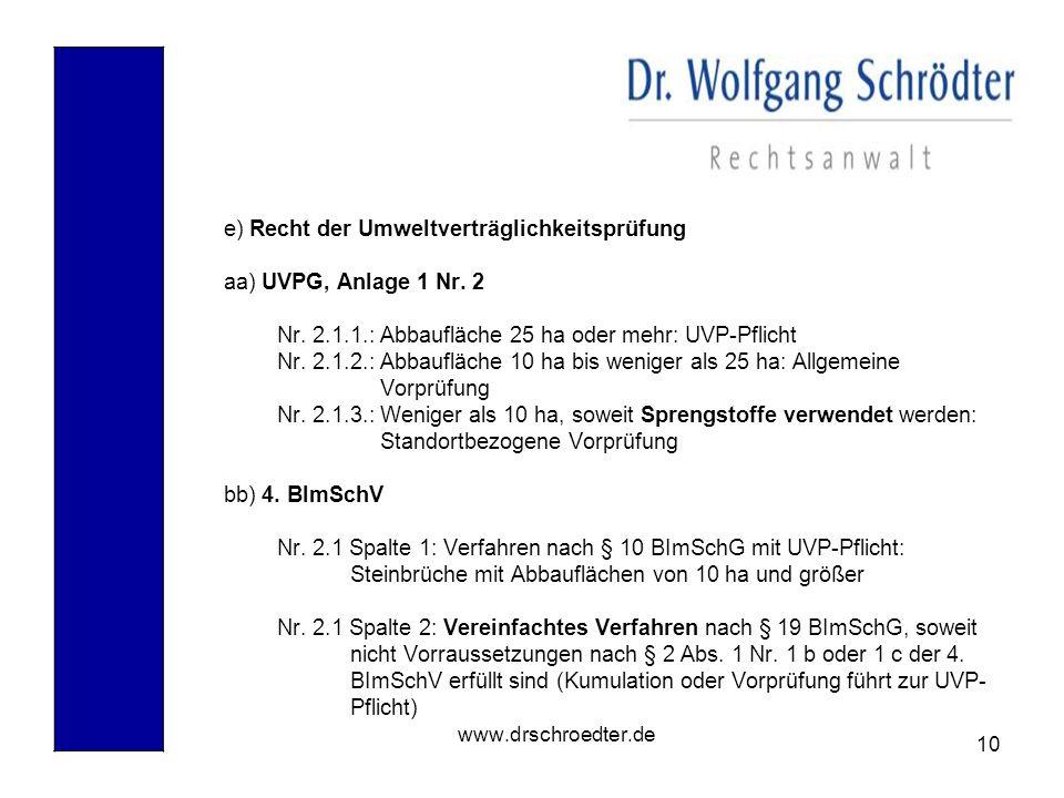 10 www.drschroedter.de e) Recht der Umweltverträglichkeitsprüfung aa) UVPG, Anlage 1 Nr. 2 Nr. 2.1.1.: Abbaufläche 25 ha oder mehr: UVP-Pflicht Nr. 2.