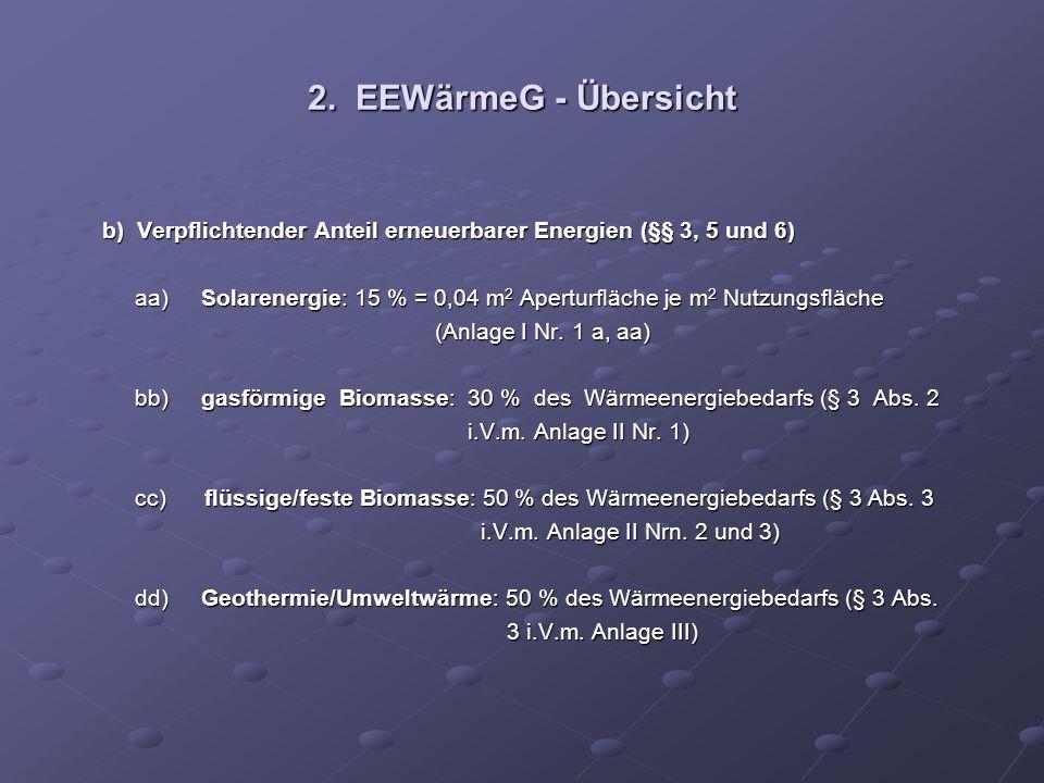 2. EEWärmeG - Übersicht b) Verpflichtender Anteil erneuerbarer Energien (§§ 3, 5 und 6) b) Verpflichtender Anteil erneuerbarer Energien (§§ 3, 5 und 6