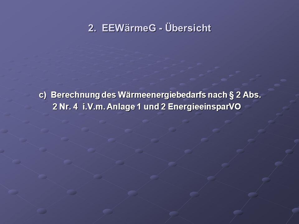 2. EEWärmeG - Übersicht c) Berechnung des Wärmeenergiebedarfs nach § 2 Abs. c) Berechnung des Wärmeenergiebedarfs nach § 2 Abs. 2 Nr. 4 i.V.m. Anlage