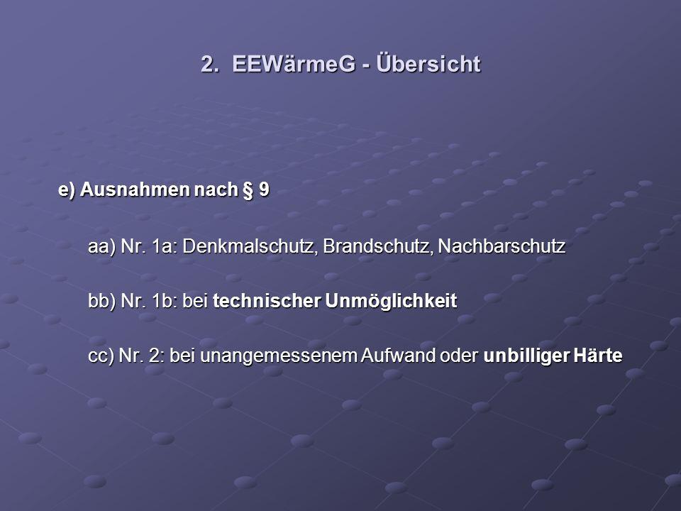 2. EEWärmeG - Übersicht e) Ausnahmen nach § 9 e) Ausnahmen nach § 9 aa) Nr. 1a: Denkmalschutz, Brandschutz, Nachbarschutz aa) Nr. 1a: Denkmalschutz, B