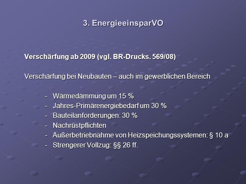 3. EnergieeinsparVO Verschärfung ab 2009 (vgl. BR-Drucks. 569/08) Verschärfung ab 2009 (vgl. BR-Drucks. 569/08) Verschärfung bei Neubauten – auch im g
