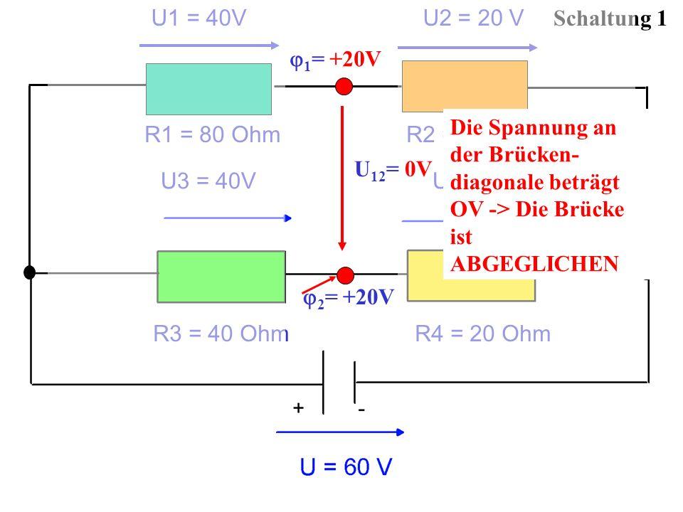 Schaltung 1 2 = +20V U1 = 40V U2 = 20 V R1 = 80 Ohm R2 = 40 Ohm 1 = +20V U3 = 40V U4 = 20 V R3 = 40 Ohm R4 = 20 Ohm U 12 = 0V Die Spannung an der Brüc