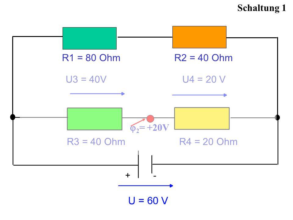 U3 = 40V U4 = 20 V Schaltung 1 2 = +20V R1 = 80 Ohm R2 = 40 Ohm R3 = 40 Ohm R4 = 20 Ohm U3 = 40V U4 = 20 V