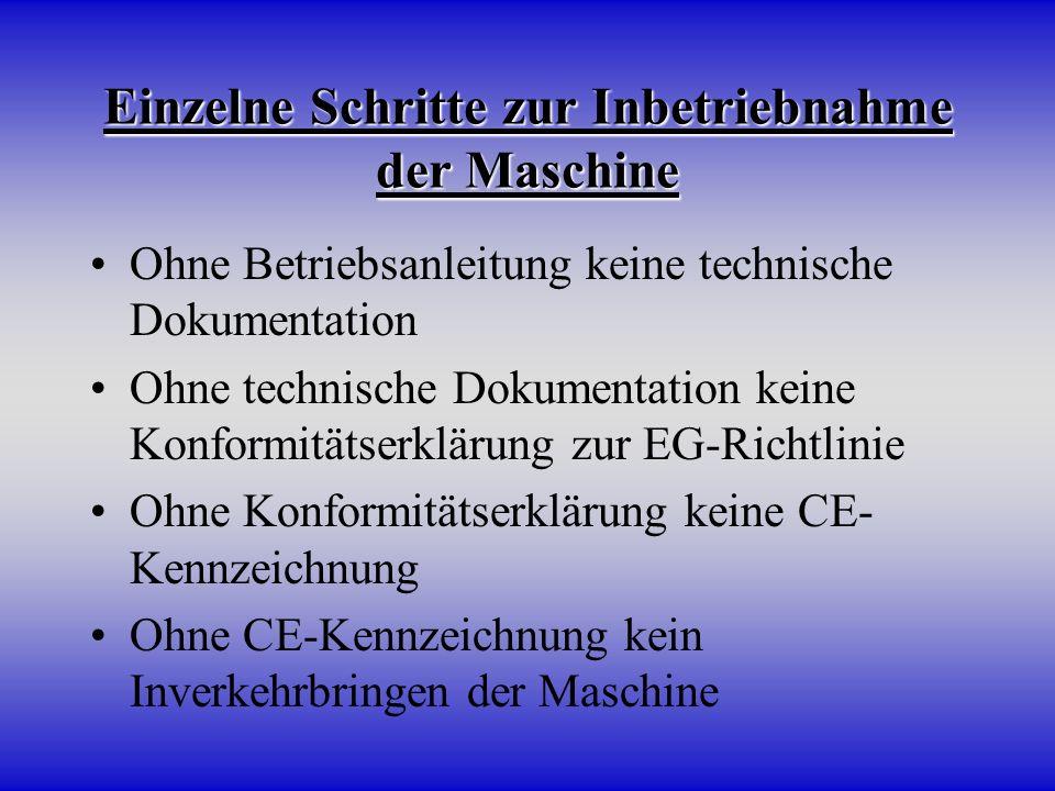 Einzelne Schritte zur Inbetriebnahme der Maschine Ohne Betriebsanleitung keine technische Dokumentation Ohne technische Dokumentation keine Konformitä