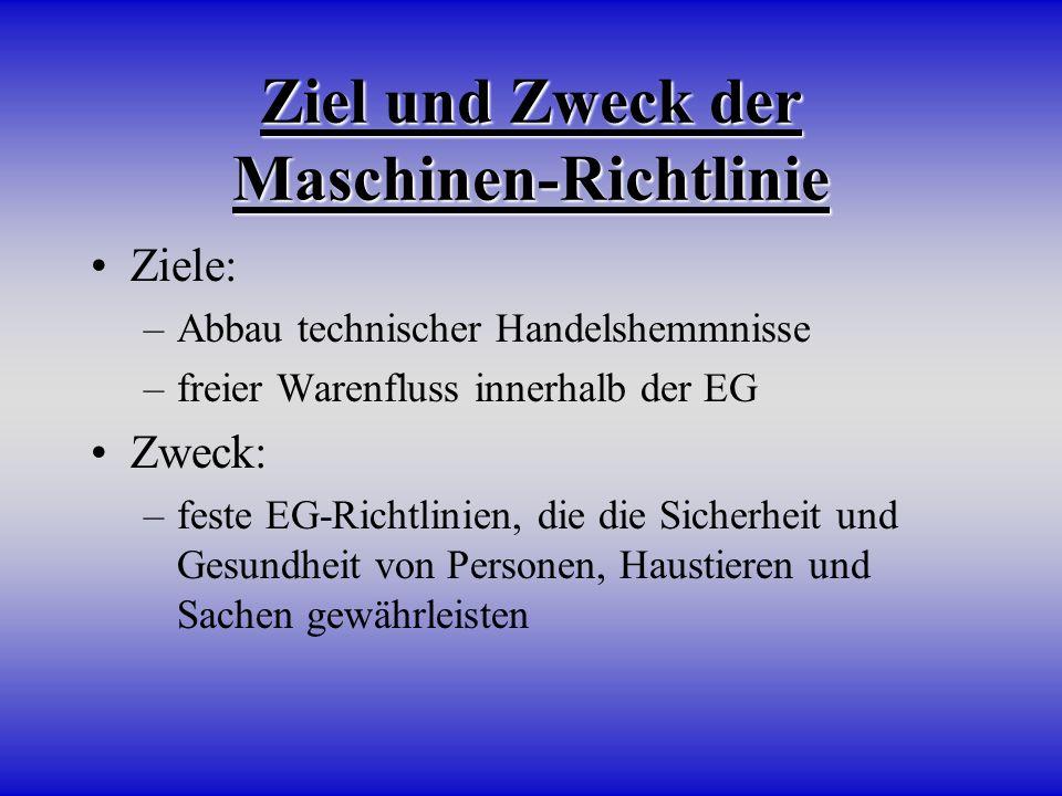 Ziel und Zweck der Maschinen-Richtlinie Ziele: –Abbau technischer Handelshemmnisse –freier Warenfluss innerhalb der EG Zweck: –feste EG-Richtlinien, d