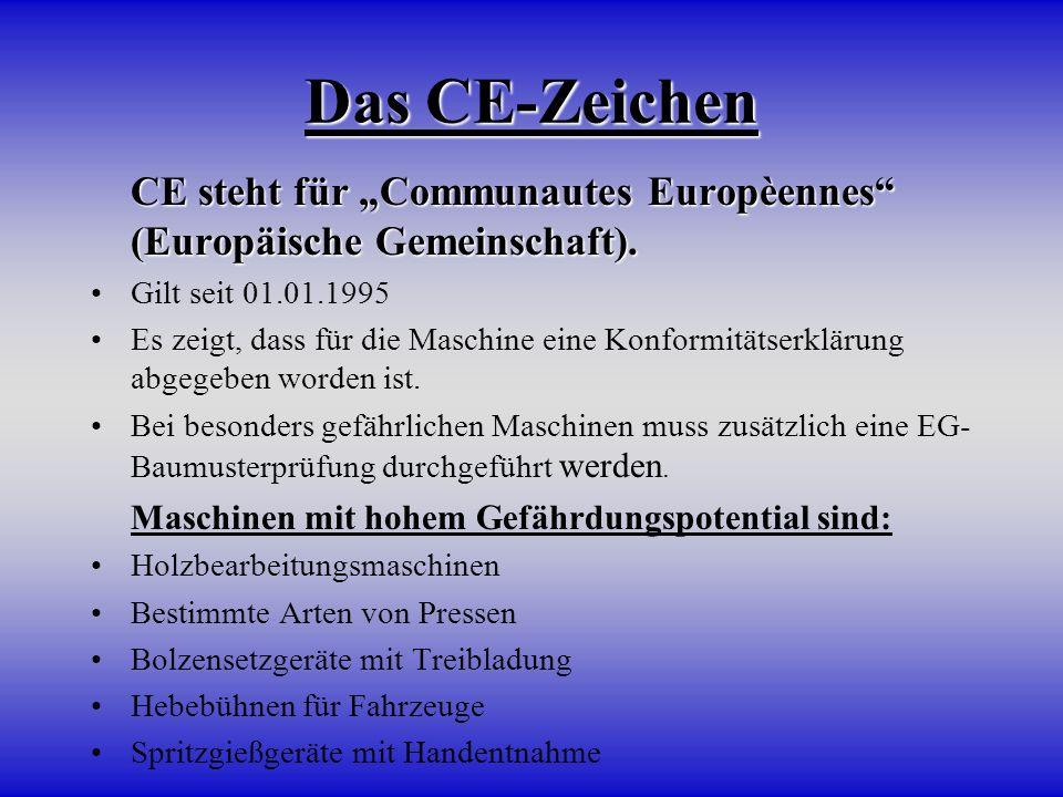 Das CE-Zeichen CE steht für Communautes Europèennes (Europäische Gemeinschaft). CE steht für Communautes Europèennes (Europäische Gemeinschaft). Gilt