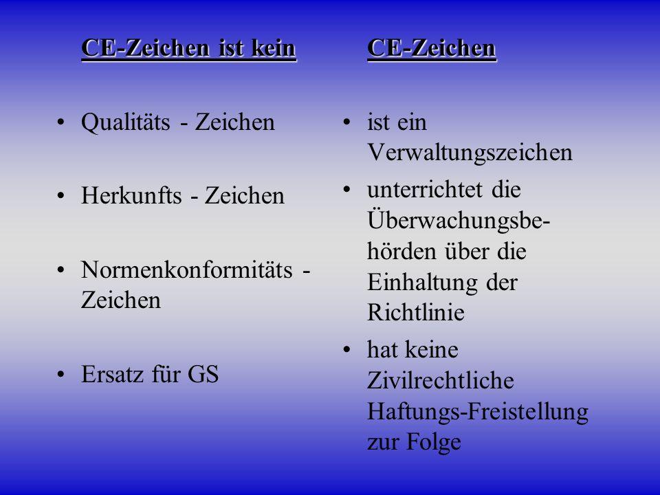 CE-Zeichen ist kein CE-Zeichen ist kein Qualitäts - Zeichen Herkunfts - Zeichen Normenkonformitäts - Zeichen Ersatz für GS CE-Zeichen CE-Zeichen ist e