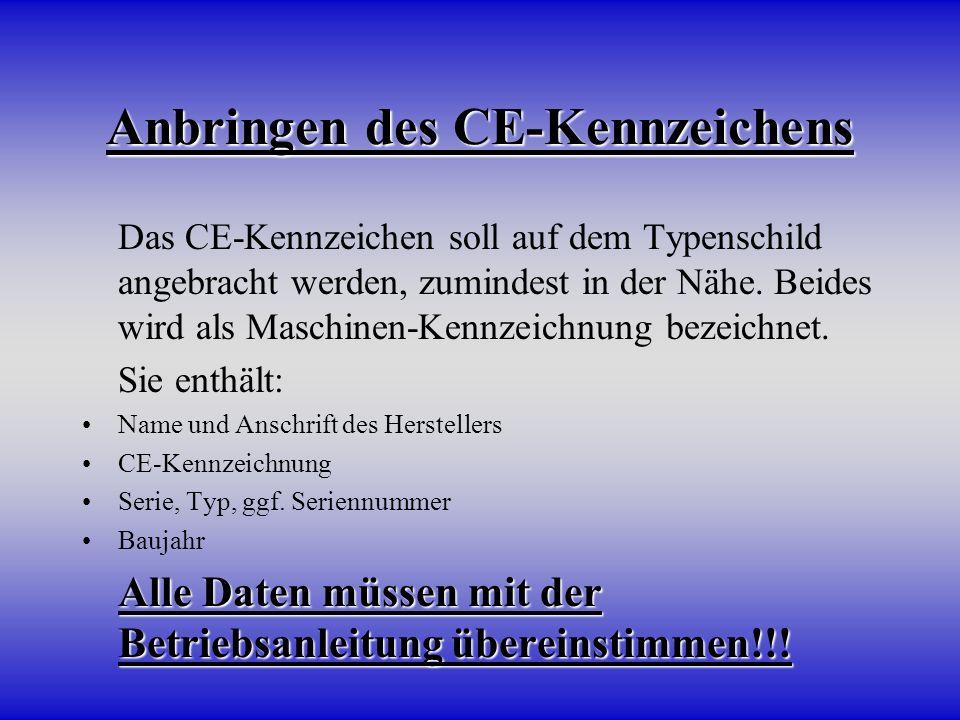 Anbringen des CE-Kennzeichens Das CE-Kennzeichen soll auf dem Typenschild angebracht werden, zumindest in der Nähe. Beides wird als Maschinen-Kennzeic