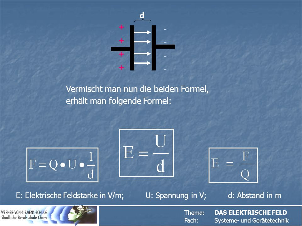 Thema:DAS ELEKTRISCHE FELD Fach: Systeme- und Gerätetechnik ++++++++ -------- Vermischt man nun die beiden Formel, erhält man folgende Formel: E: Elektrische Feldstärke in V/m; U: Spannung in V; d: Abstand in m d