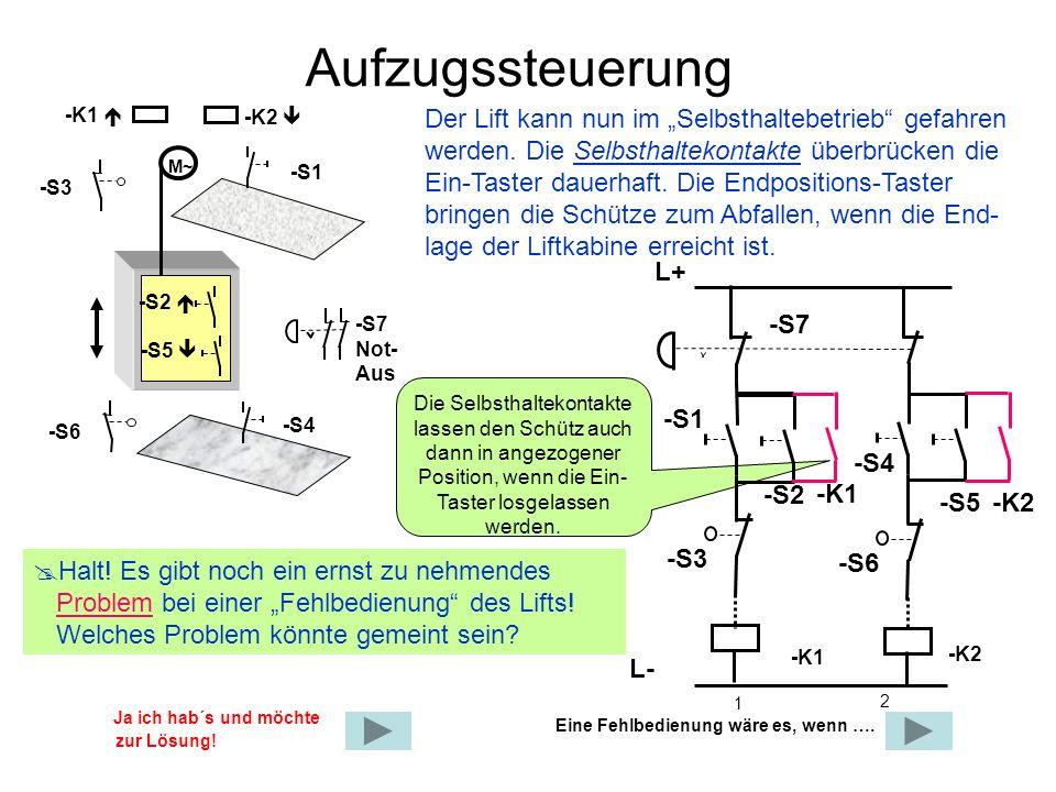 Aufzugssteuerung Der Lift kann nun im Selbsthaltebetrieb gefahren werden. Die Selbsthaltekontakte überbrücken die Ein-Taster dauerhaft. Die Endpositio