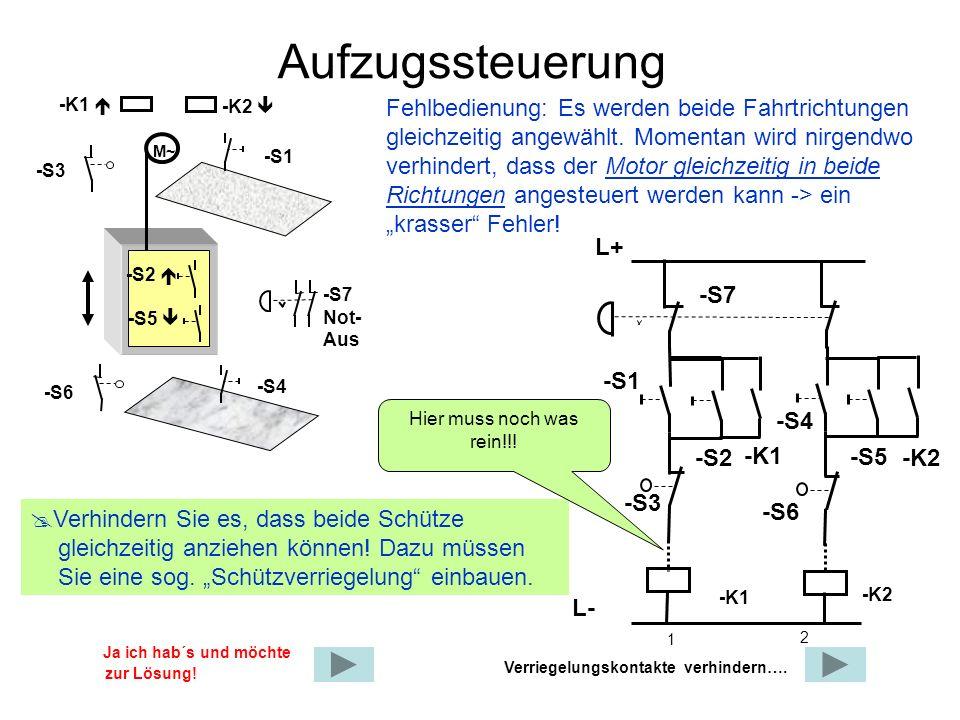 Aufzugssteuerung Fehlbedienung: Es werden beide Fahrtrichtungen gleichzeitig angewählt. Momentan wird nirgendwo verhindert, dass der Motor gleichzeiti