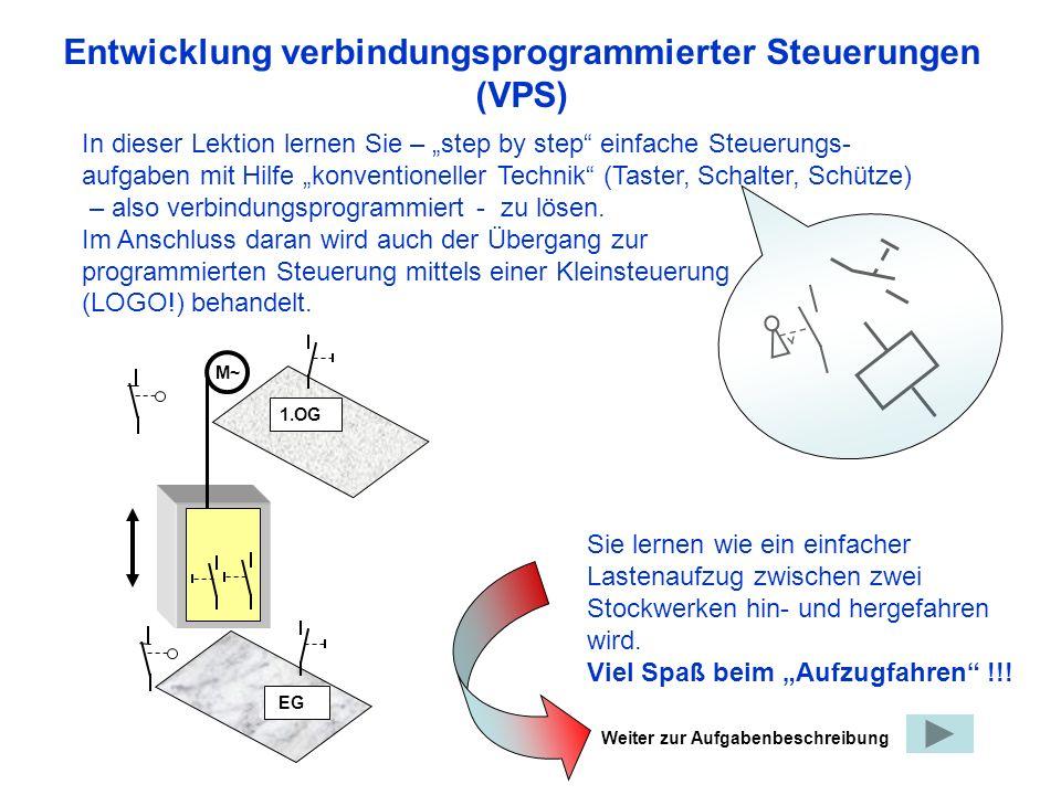 Entwicklung verbindungsprogrammierter Steuerungen (VPS) In dieser Lektion lernen Sie – step by step einfache Steuerungs- aufgaben mit Hilfe konventioneller Technik (Taster, Schalter, Schütze) – also verbindungsprogrammiert - zu lösen.