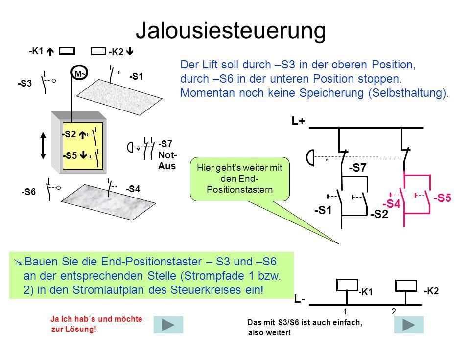 Jalousiesteuerung Der Lift soll durch –S3 in der oberen Position, durch –S6 in der unteren Position stoppen. Momentan noch keine Speicherung (Selbstha