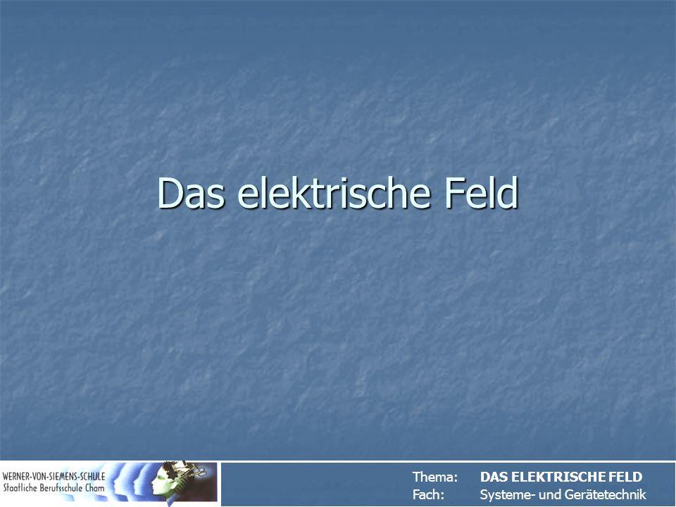 Thema:DAS ELEKTRISCHE FELD Fach: Systeme- und Gerätetechnik
