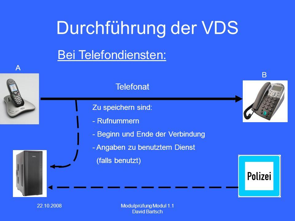 22.10.2008 Modulprüfung Modul 1.1 David Bartsch Durchführung der VDS Bei Telefondiensten: A B Telefonat Zu speichern sind: - Rufnummern - Beginn und Ende der Verbindung - Angaben zu benutztem Dienst (falls benutzt)