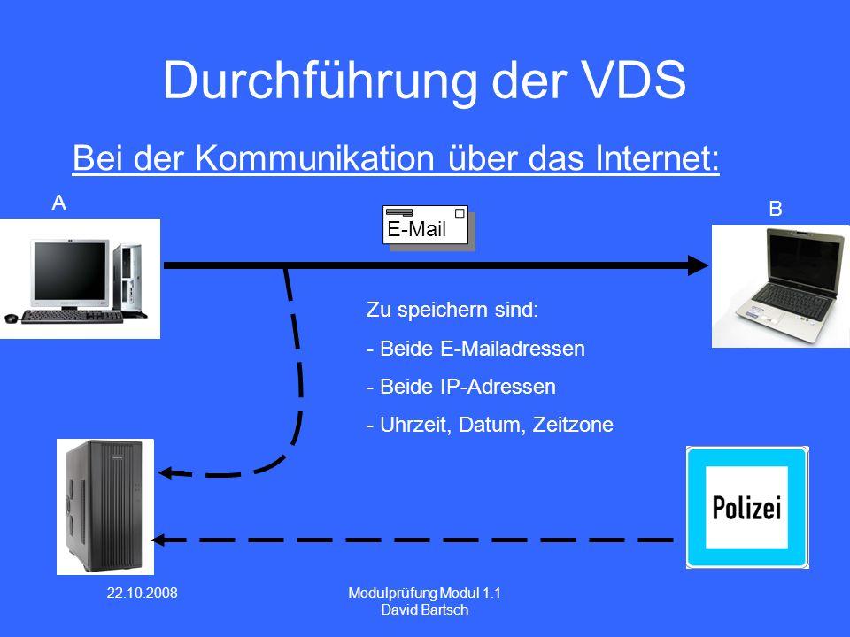 22.10.2008 Modulprüfung Modul 1.1 David Bartsch Durchführung der VDS Zu speichern sind: - Beide E-Mailadressen - Beide IP-Adressen - Uhrzeit, Datum, Z