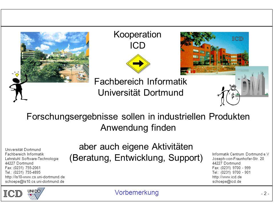 - 2 - Informatik Centrum Dortmund e.V Joseph-von-Fraunhofer-Str. 20 44227 Dortmund Fax: (0231) 9700 - 999 Tel.: (0231) 9700 - 901 http://www.icd.de sc