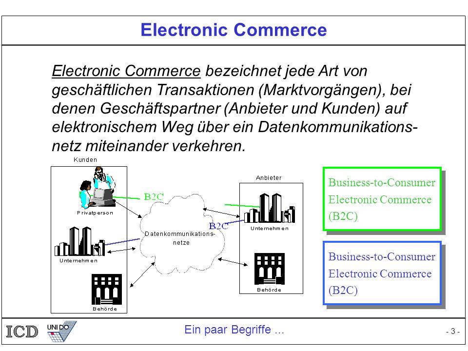 - 3 - Electronic Commerce Electronic Commerce bezeichnet jede Art von geschäftlichen Transaktionen (Marktvorgängen), bei denen Geschäftspartner (Anbie