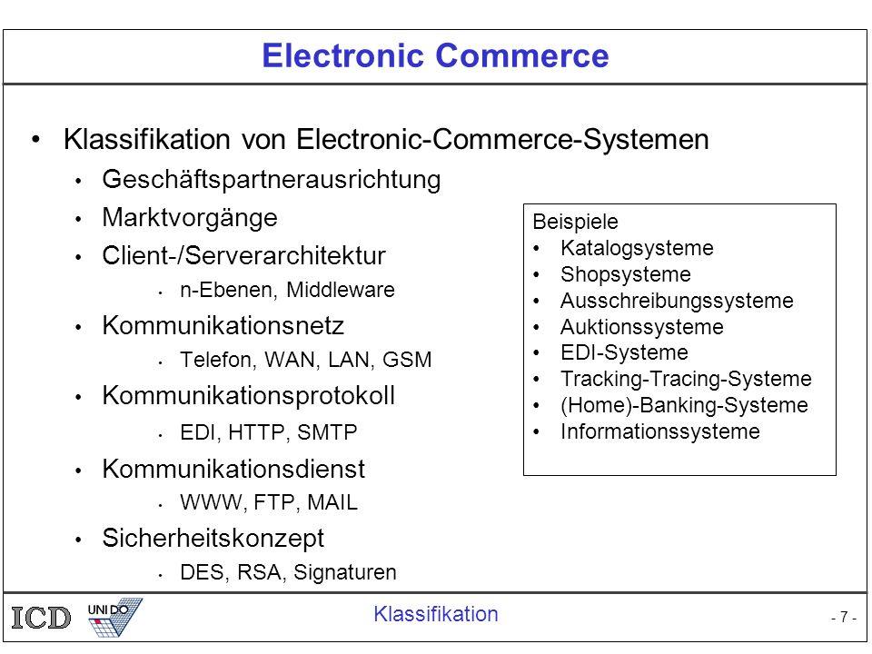 - 7 - Electronic Commerce Klassifikation von Electronic-Commerce-Systemen Geschäftspartnerausrichtung Marktvorgänge Client-/Serverarchitektur n-Ebenen