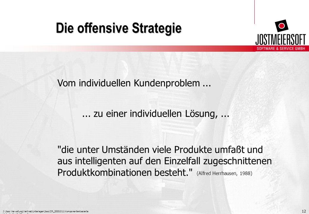 J:\Joso Verwaltung\Vertrieb\Unterlagen\Joso\IIR_20001011\Komponentenbasierte Virtuelle Marktplätze.ppt 12 Die offensive Strategie Vom individuellen Ku
