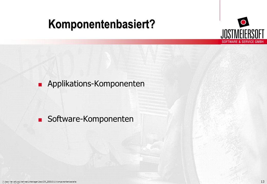 J:\Joso Verwaltung\Vertrieb\Unterlagen\Joso\IIR_20001011\Komponentenbasierte Virtuelle Marktplätze.ppt 13 Komponentenbasiert?. Applikations-Komponente