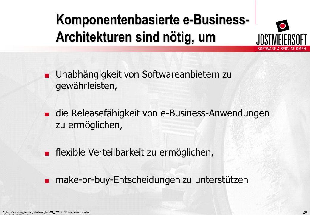 J:\Joso Verwaltung\Vertrieb\Unterlagen\Joso\IIR_20001011\Komponentenbasierte Virtuelle Marktplätze.ppt 20 Komponentenbasierte e-Business- Architekture