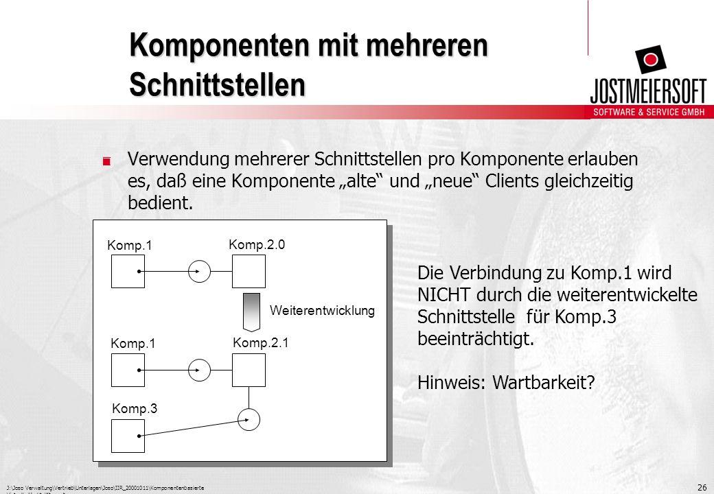 J:\Joso Verwaltung\Vertrieb\Unterlagen\Joso\IIR_20001011\Komponentenbasierte Virtuelle Marktplätze.ppt 26 Komponenten mit mehreren Schnittstellen. Ver