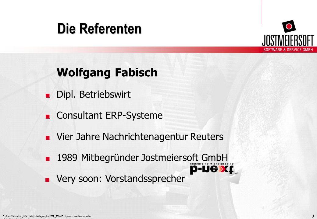 J:\Joso Verwaltung\Vertrieb\Unterlagen\Joso\IIR_20001011\Komponentenbasierte Virtuelle Marktplätze.ppt 3 Die Referenten Wolfgang Fabisch. Dipl. Betrie