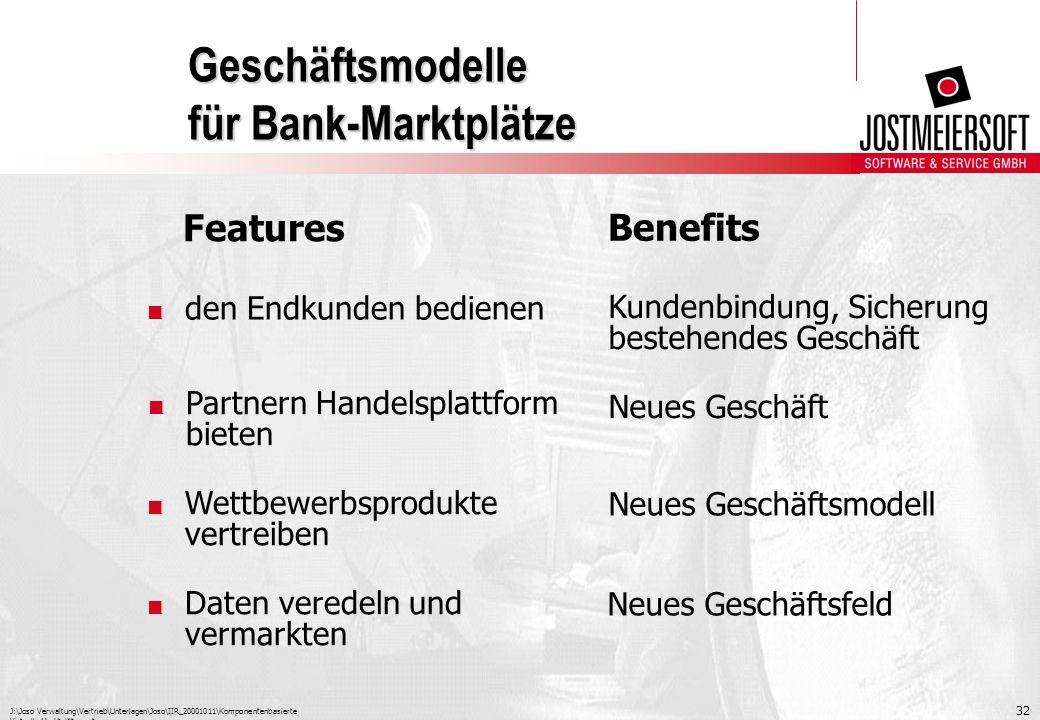 J:\Joso Verwaltung\Vertrieb\Unterlagen\Joso\IIR_20001011\Komponentenbasierte Virtuelle Marktplätze.ppt 32 Geschäftsmodelle für Bank-Marktplätze. Partn