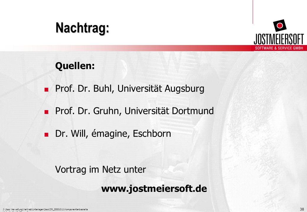 J:\Joso Verwaltung\Vertrieb\Unterlagen\Joso\IIR_20001011\Komponentenbasierte Virtuelle Marktplätze.ppt 38 Nachtrag: Quellen:. Prof. Dr. Buhl, Universi