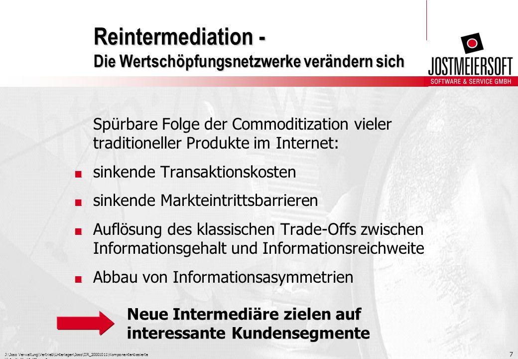 J:\Joso Verwaltung\Vertrieb\Unterlagen\Joso\IIR_20001011\Komponentenbasierte Virtuelle Marktplätze.ppt 8 Reintermediation - Die Wertschöpfungsnetzwerke verändern sich Reintermediation Reintermediation auf Produktseite Reintermediation auf Marketingseite Production by EC Netzwerkprodukte, z.
