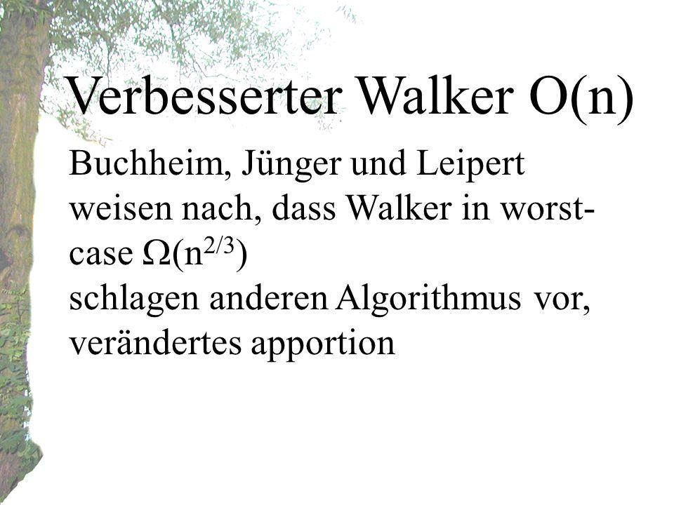 Verbesserter Walker O(n) Buchheim, Jünger und Leipert weisen nach, dass Walker in worst- case (n 2/3 ) schlagen anderen Algorithmus vor, verändertes apportion
