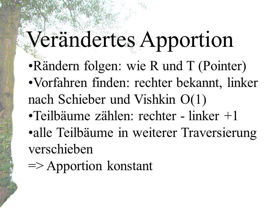 Verändertes Apportion Rändern folgen: wie R und T (Pointer) Vorfahren finden: rechter bekannt, linker nach Schieber und Vishkin O(1) Teilbäume zählen: rechter - linker +1 alle Teilbäume in weiterer Traversierung verschieben => Apportion konstant