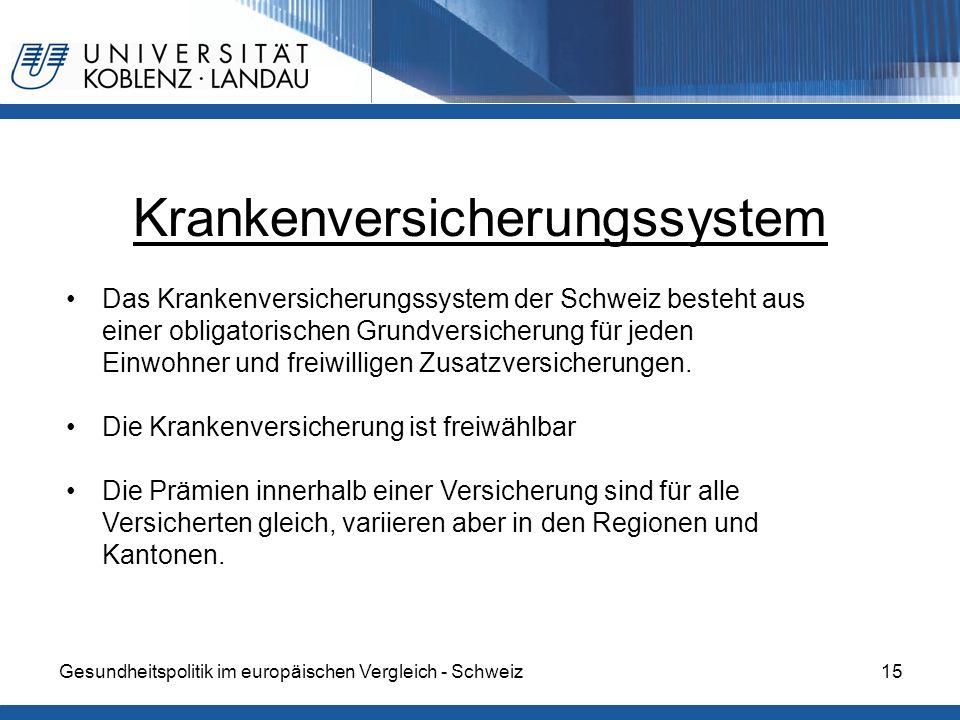 Gesundheitspolitik im europäischen Vergleich - Schweiz15 Krankenversicherungssystem Das Krankenversicherungssystem der Schweiz besteht aus einer oblig