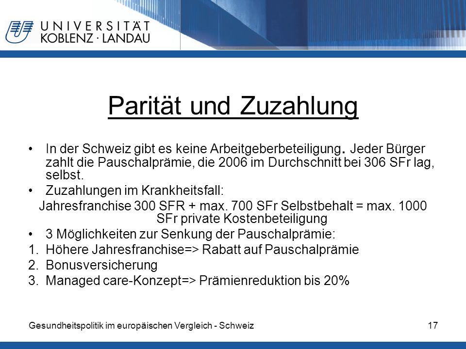 Gesundheitspolitik im europäischen Vergleich - Schweiz17 Parität und Zuzahlung In der Schweiz gibt es keine Arbeitgeberbeteiligung. Jeder Bürger zahlt
