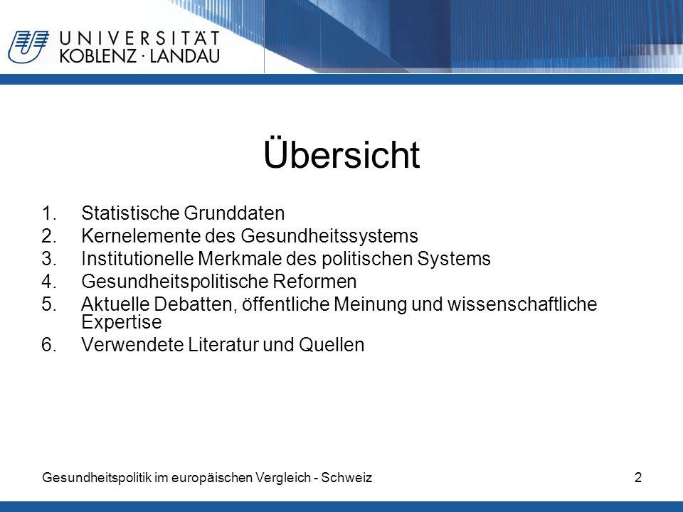 Gesundheitspolitik im europäischen Vergleich - Schweiz2 Übersicht 1.Statistische Grunddaten 2.Kernelemente des Gesundheitssystems 3.Institutionelle Me