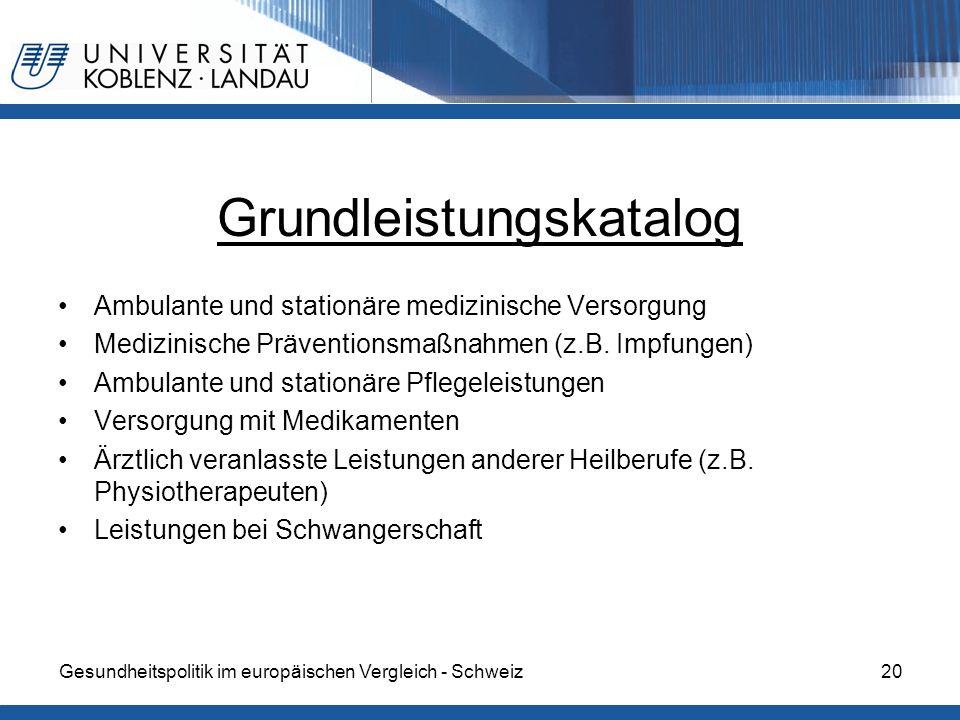 Gesundheitspolitik im europäischen Vergleich - Schweiz20 Grundleistungskatalog Ambulante und stationäre medizinische Versorgung Medizinische Präventio