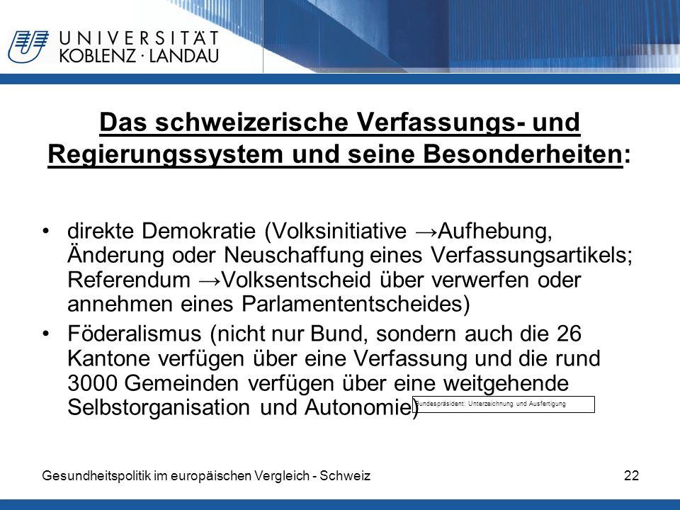 Gesundheitspolitik im europäischen Vergleich - Schweiz22 Bundespräsident: Unterzeichnung und Ausfertigung Das schweizerische Verfassungs- und Regierun