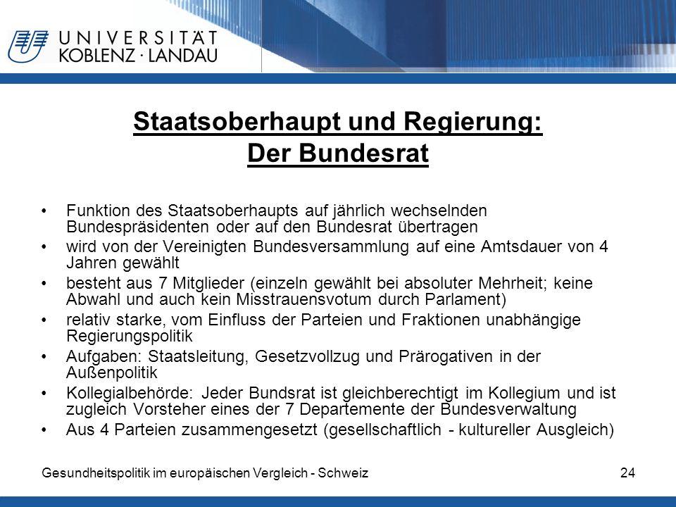 Gesundheitspolitik im europäischen Vergleich - Schweiz24 Staatsoberhaupt und Regierung: Der Bundesrat Funktion des Staatsoberhaupts auf jährlich wechs