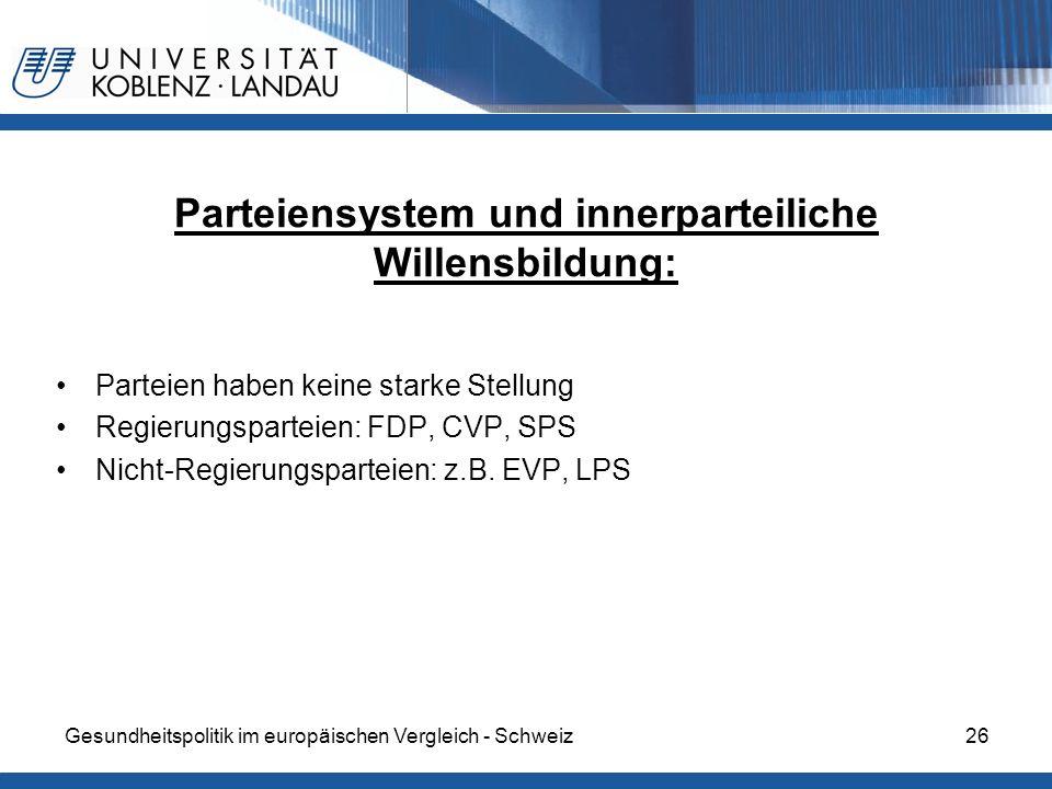 Gesundheitspolitik im europäischen Vergleich - Schweiz26 Parteiensystem und innerparteiliche Willensbildung: Parteien haben keine starke Stellung Regi