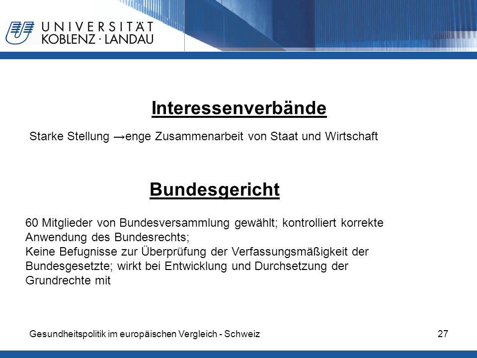 Gesundheitspolitik im europäischen Vergleich - Schweiz27 Interessenverbände Starke Stellung enge Zusammenarbeit von Staat und Wirtschaft Bundesgericht