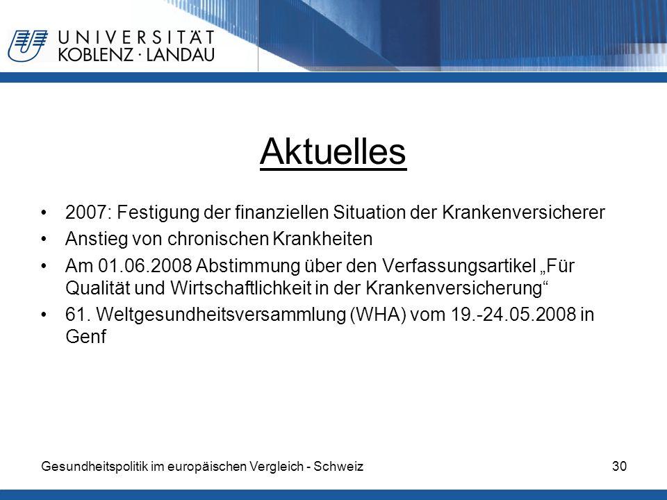 Gesundheitspolitik im europäischen Vergleich - Schweiz30 Aktuelles 2007: Festigung der finanziellen Situation der Krankenversicherer Anstieg von chron
