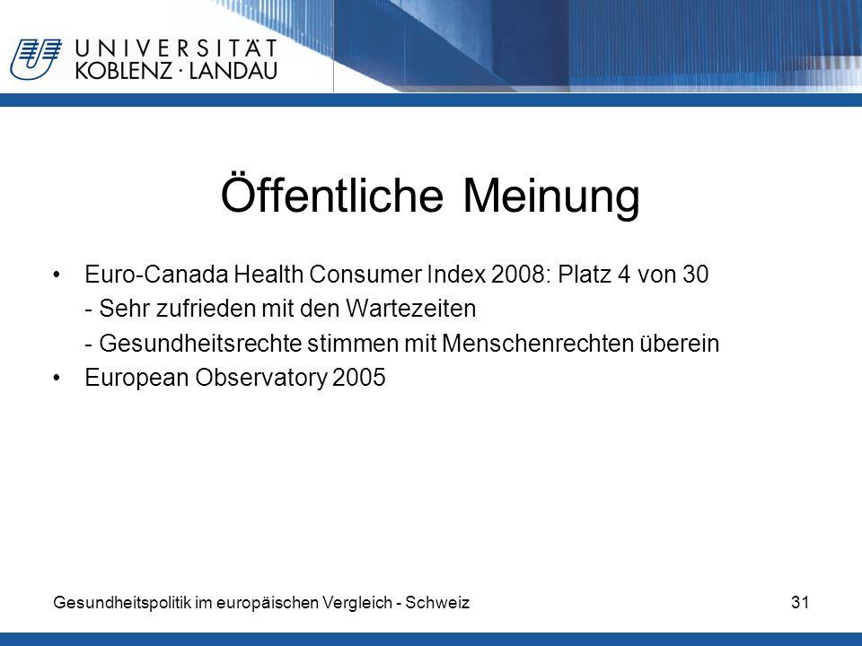 Gesundheitspolitik im europäischen Vergleich - Schweiz31 Öffentliche Meinung Euro-Canada Health Consumer Index 2008: Platz 4 von 30 - Sehr zufrieden m
