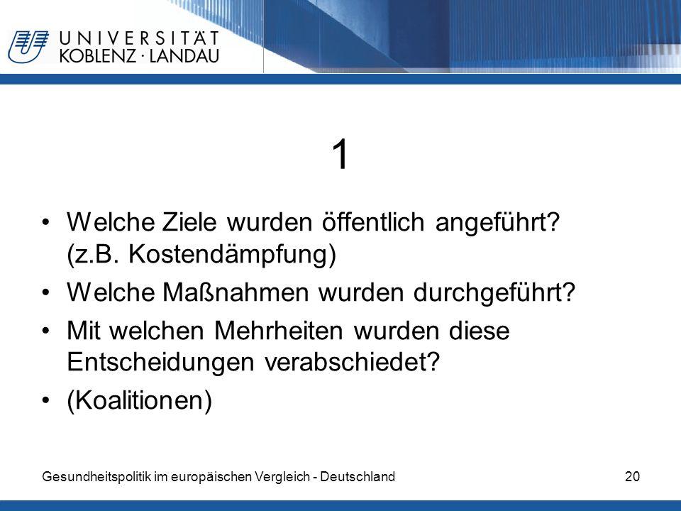 Gesundheitspolitik im europäischen Vergleich - Deutschland20 1 Welche Ziele wurden öffentlich angeführt? (z.B. Kostendämpfung) Welche Maßnahmen wurden