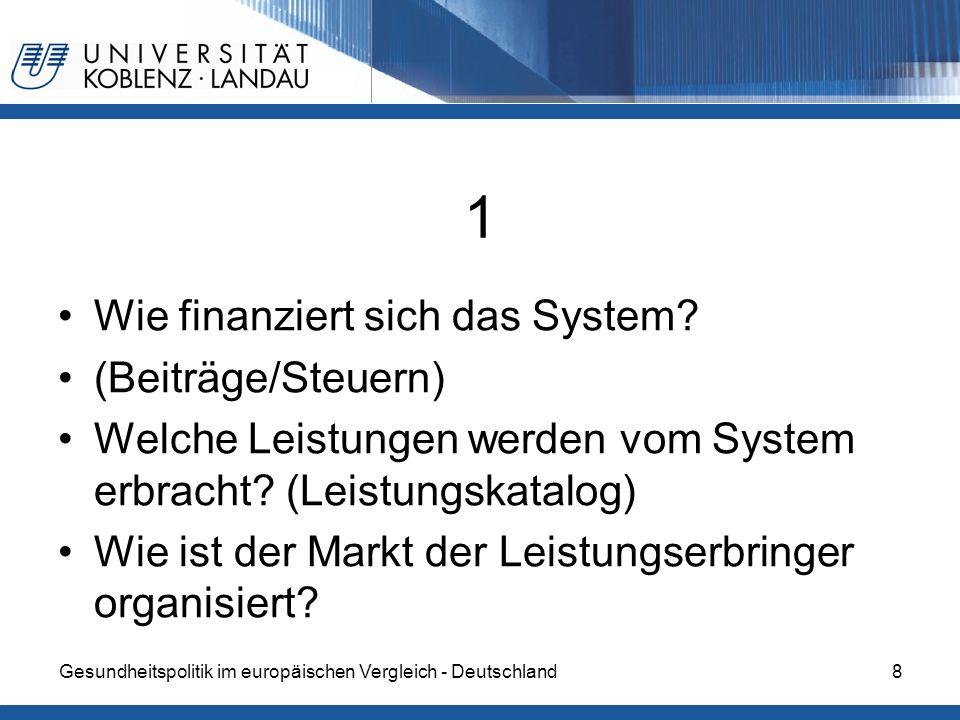 Gesundheitspolitik im europäischen Vergleich - Deutschland8 1 Wie finanziert sich das System? (Beiträge/Steuern) Welche Leistungen werden vom System e