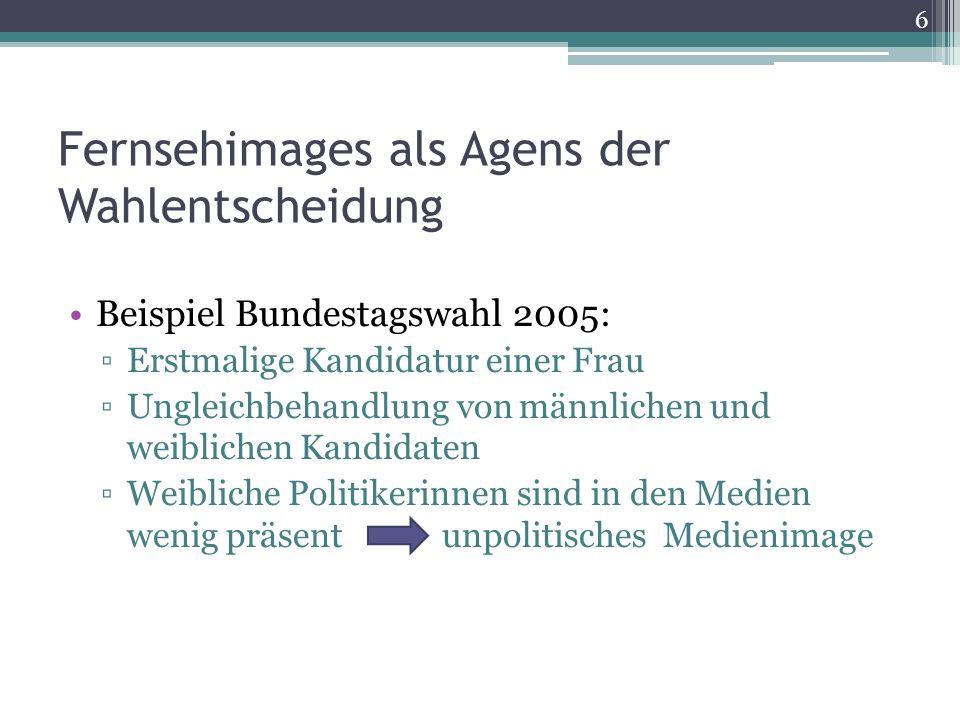 Fernsehimages als Agens der Wahlentscheidung Beispiel Bundestagswahl 2005: Erstmalige Kandidatur einer Frau Ungleichbehandlung von männlichen und weib